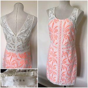 Lace coverd neon orange and white mini dress